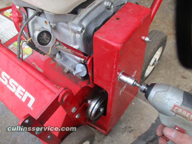 How to change blades on a overseeder Unbolt the Belt shield top Cullins Service