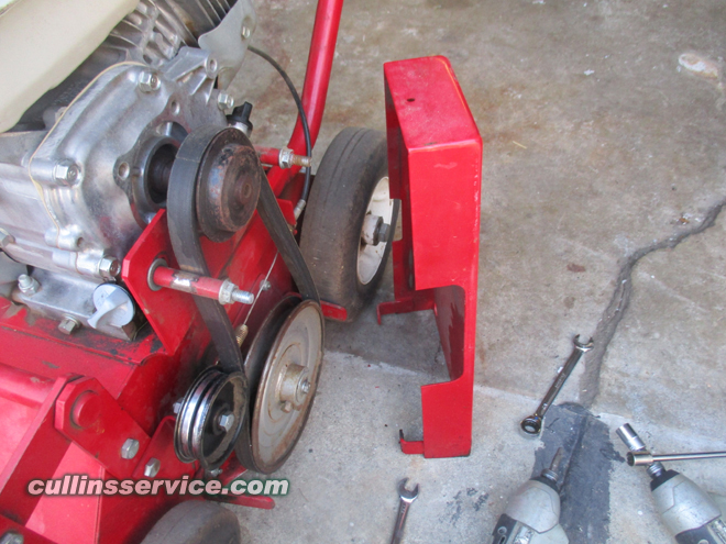 How to change blades on a overseeder Remove the Belt Shield Cullins Service