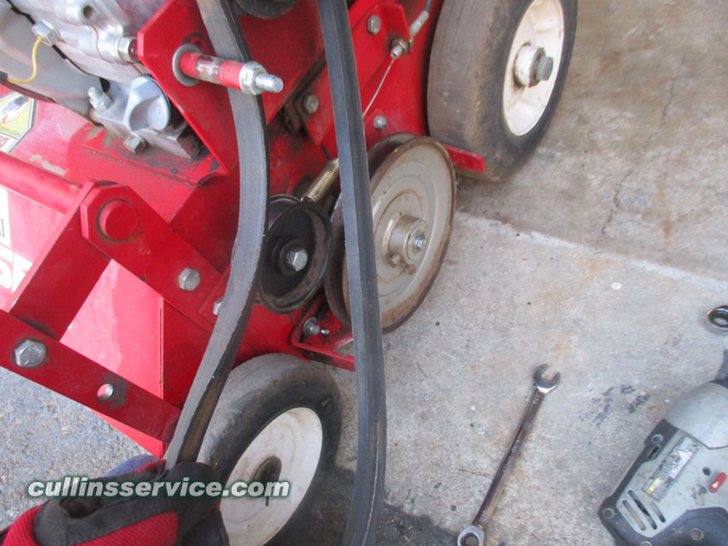 How to change blades on a overseeder Remove the Belt Cullins Service