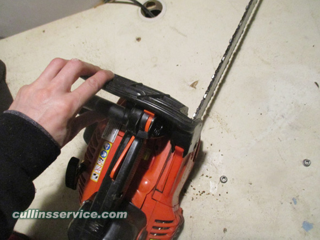 How to Sharpen a Chainsaw Release the Chain Tension Cullins Service