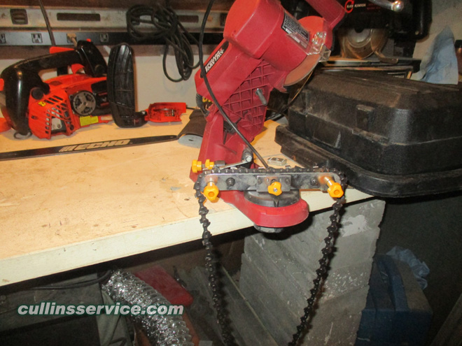 How to Sharpen a Chainsaw Insert the Chain Cullins Service