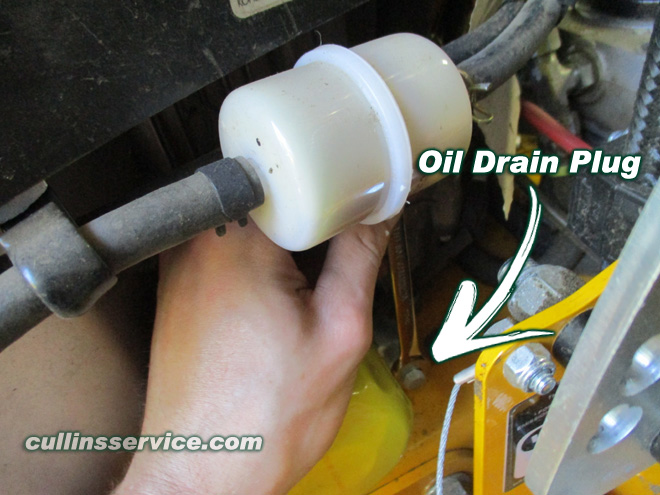 How to DIY Change oil on wright mower Turn Drain Plug and Drain Cullins Service