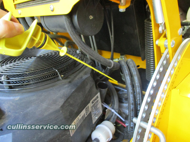 How to DIY Change oil on wright mower Remove Oil Dipstick Cullins Service