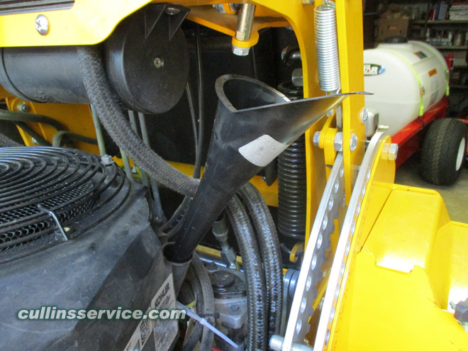 How to DIY Change oil on wright mower Put Funnel in Dipstick Hole Cullins Service