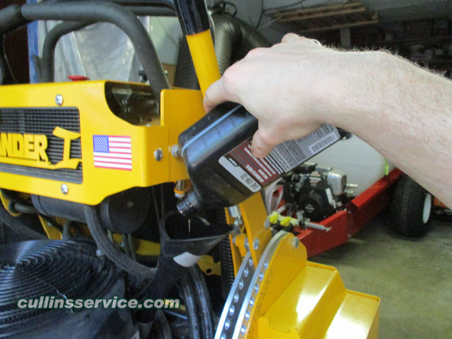 How to DIY Change oil on wright mower Pour in Oil Cullins Service