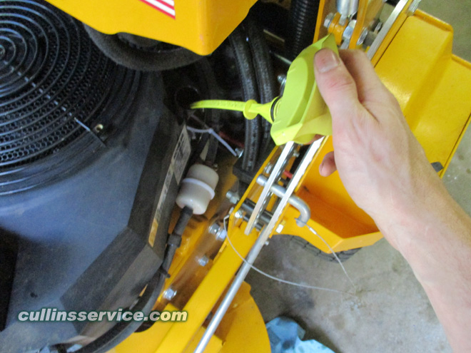 How to DIY Change oil on wright mower reinstall dipstick Cullins Service