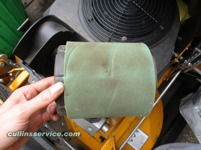 How to DIY Change oil on wright mower Remove Air Filter Cullins Service