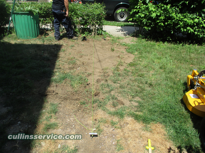 Cullins service uses a string to get a straight line before planting bushes