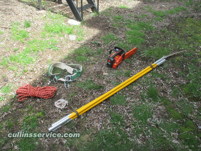 Cullins service equipment Echo CS 330T, pole saw w/ extension and our old harness