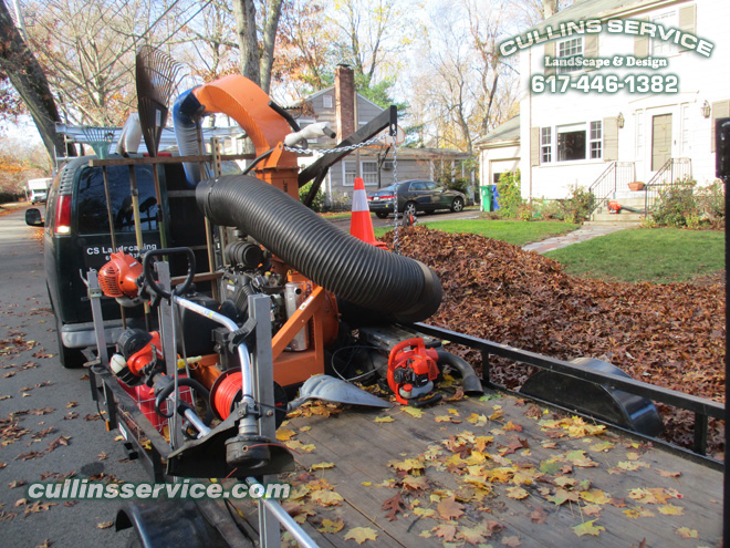 Cullins Service gets ready to suck up all the leaves w/ our scag giant ac