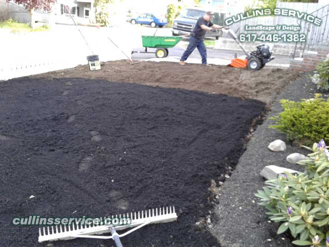 Cullins Service is almost done spreading and grading the organic compost loam.