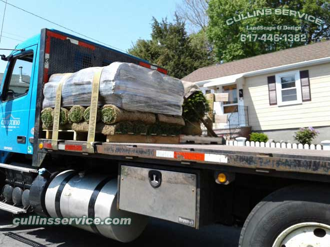 And the sod arrives right on time.