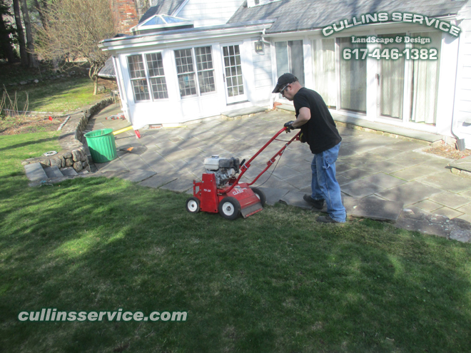 Cullins Service Landscape Fall Lawn Care Thatching Aeration Seeding Fertilizing in Wellesley, Ma