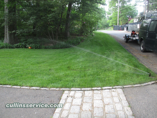 A finished Sprinkler System and a beautiful green lawn